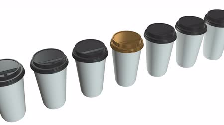 テイクアウェイ : Disposable coffee cups. Row of Blank paper mug with plastic cap. 3d render Video available in 4k FullHD and HD render footage