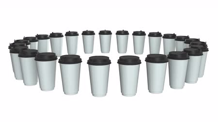 lekeler : Disposable coffee cups. Row of Blank paper mug with plastic cap. 3d render Video available in 4k FullHD and HD render footage