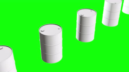 fosilní : White blank metal barrel oil row. 3d render Video available in 4k FullHD and HD render footage