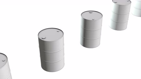 fossiel : White blank metal barrel oil row. 3d render Video available in 4k FullHD and HD render footage