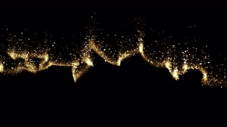 stardust : Gold Sky. Abstract stardust smokey wave particles. Nano dynamic flow with 3d particles. Smoky dynamic wavy effect flow 4k and hd animation with abstract sparkles. Motion background.