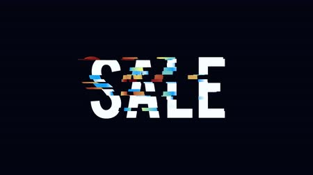 cupom : Glitched cSale motion poster, banner text design motion graphic. Distorted glitch style Big sale, clearance modern background. Available in 4K FullHD video render footage Stock Footage