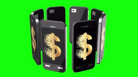 disintegration : Smartphone online sale discount. Display with Fractured Gold Dollar value 3d model with disappearing effect. Clearance sale concept. Available in FullHD and HD video.