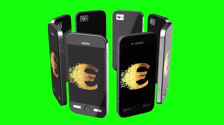 rozptyl : Smartphone online sale discount. Display with Fractured Gold Euro value 3d model with disappearing effect. Clearance sale concept. Available in FullHD and HD video.