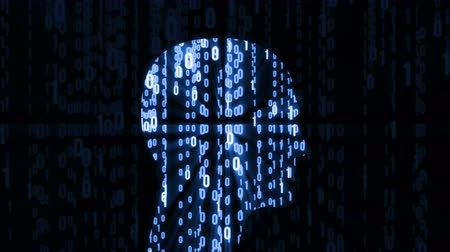 computer programmer : Machine learning. Artificial Intelligence. Abstract Matrix Background. Binary Computer Code with a person head consisting of bits and code programs. Available in 4K FullHD and HD video render footage. Stock Footage