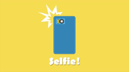 atualizar : Taking selfie on smartphone. Mobile apps concept in flat design. 2d animation video available in 4k FullHD and HD render footage
