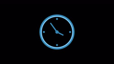cronômetro : Stopwatch animated icon. Clock with moving arrows. Time run and timelapse. Cartoon flat animation of UI element available in 4K FullHD and HD video 2D render footage on black