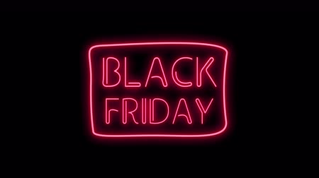 Black Friday Neon Light on black. Sale Banner in Night Club Bar Blinking Neon Sign Style. Motion Animation. Video available in 4K FullHD and HD render footage Стоковые видеозаписи