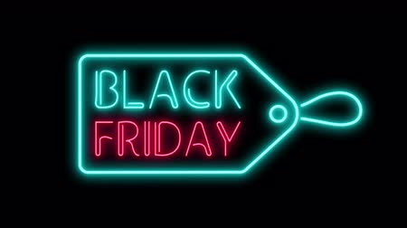 Black Friday and Sale Tag Neon Light on black. Sale Banner in Night Club Bar Blinking Neon Sign Style. Motion Animation. Video available in 4K FullHD and HD render footage