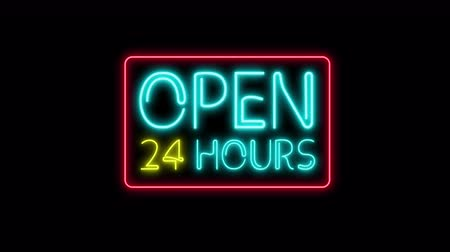 Open 24 7 Hours Neon Light on black. 24 Hours Night Club Bar Blinking Neon Sign. Motion Animation. Video available in 4K FullHD and HD render footage
