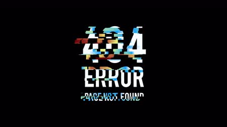 Glitched Page not found Error 404 design motion graphic. Distorted glitch style modern background. Available in 4K FullHD video render footage Stock mozgókép