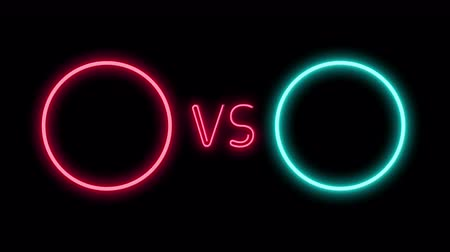 derrota : Versus screen in neon style. Blinking futuristic neon VS frames light on black. Neon banner Announcement of two fighters. Competition vs match game, martial battle vs sport. 4k Motion Animation.