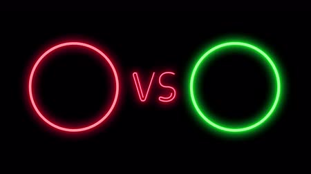 неон : Versus screen in neon style. Blinking futuristic neon VS frames light on black. Neon banner Announcement of two fighters. Competition vs match game, martial battle vs sport. 4k Motion Animation.