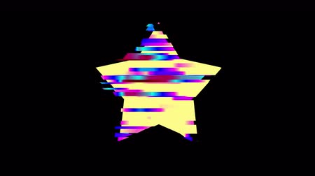 Glitched star frame design motion graphic. Distorted glitch style modern background. Available in 4K FullHD video render footage