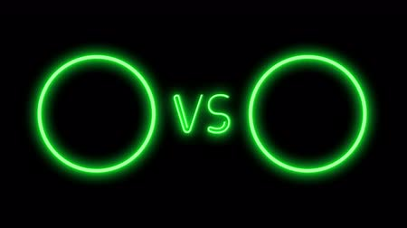 поражение : Versus screen in neon style. Blinking futuristic neon VS frames light on black. Neon banner Announcement of two fighters. Competition vs match game, martial battle vs sport. 4k Motion Animation.