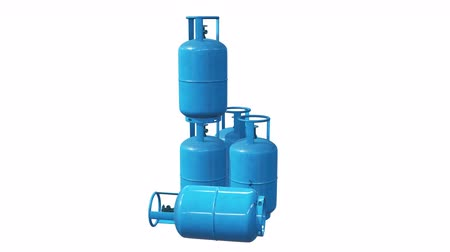 argon : Gas cylinder lpg tank gas-bottle. Propane gas-cylinder balloon. Cylindrical container with liquefied compressed gases with high pressure and valves 3d render video available in 4K FullHD footage