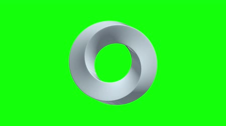 Mobius strip ring sacred geometry. Spatial figure with upturned surfaces. Optical illusion with dual circular contour 3d render. Animation video available in 4k FullHD and HD render footage. Стоковые видеозаписи