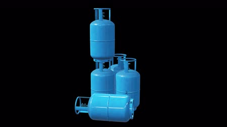 Gas cylinder lpg tank gas-bottle. Propane gas-cylinder balloon. Cylindrical container with liquefied compressed gases with high pressure and valves 3d render video available in 4K FullHD footage