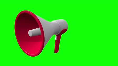 yüksek sesle : Megaphone or bullhorn for amplifying voice for protests rallies or public speaking. 3d render video available in FullHD footage. Stok Video