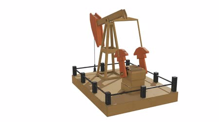 Oil well rig jack. Finance economy polygonal petrol production. Petroleum fuel industry pumpjack derricks pumping drilling. 3d render video available in FullHD footage.