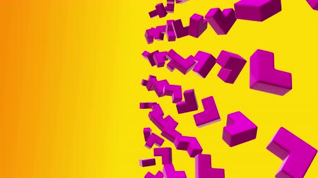 Abstract geometric shapes corners cubes rotate. Computer generated loop animation. Modern background, seamless motion design for poster. Available in 4K FullHD video render footage.