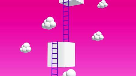boxes : Next level with high giant box wall towards the sky with clouds and tall ladders. Pass challenge to reach the goal concept. Available in 4K video render footage.