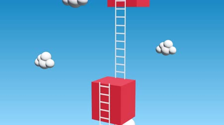 Next level with high giant box wall towards the sky with clouds and tall ladders. Pass challenge to reach the goal concept. Available in 4K video render footage.