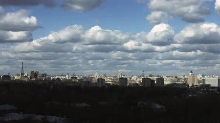 moscow panorama : Moscow aerial wide time-lapse 4k panorama, stormy weather, clouds moving