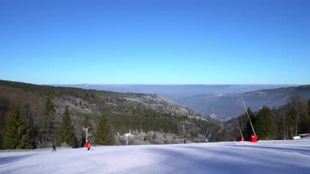 vosges : Beautiful ski slope on mountain resort in Alsace, Vosges