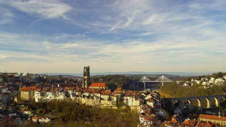hdtv : Panoramic aerial view of Fribourg, Switzerland, sunset time. 4k high resolution.