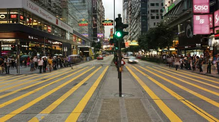 neon lights : Busy pedestrian crossing on Nathan road Kowloon Hong Kong China timelapse