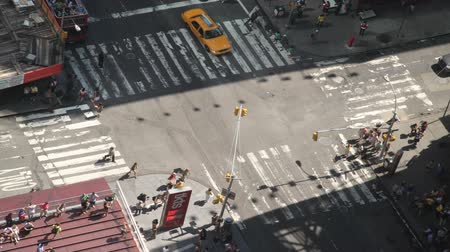crosswalk : closeup on times square intersection timelapse