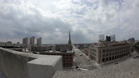 mi : Downtown Detroit buildings time lapse Stock Footage