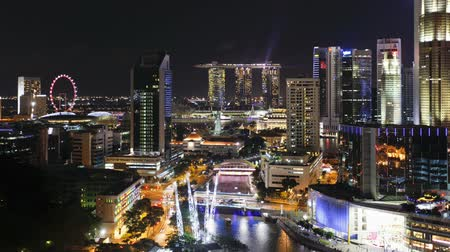 singapur : elevated view over the entertainment district of clarke quay the singapore