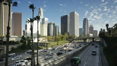 motorcar : freeway figueroa at wiltshire downtown los angeles california unite Stock Footage