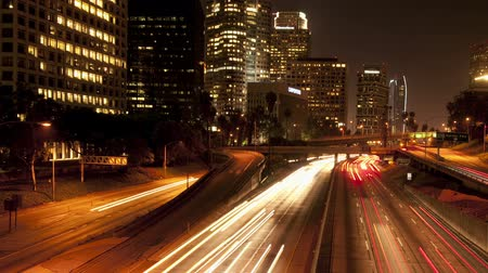 los angeles skyline : Los Angeles downtown freeway light trails