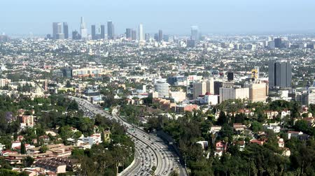 los angeles skyline : los Angeles downtown city time lapse