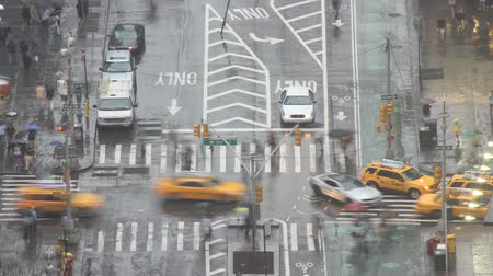 sewer : new york city intersection in rain timelapse