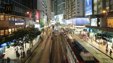 motorcar : Pedestrians and traffic on Hennessy road near times Square-Wan Chai Hong