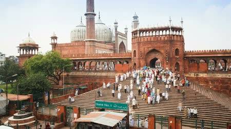 moghul : people leaving the jama masjid friday mosque after the friday prayers old
