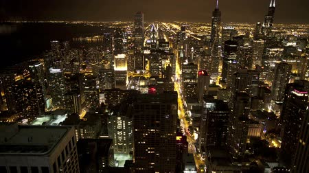 Schilderachtige nacht timelapse in Chicago Stockvideo
