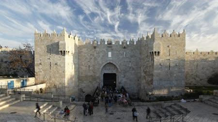damasco : the old city damascus gate jerusalem israel middle east time lapse
