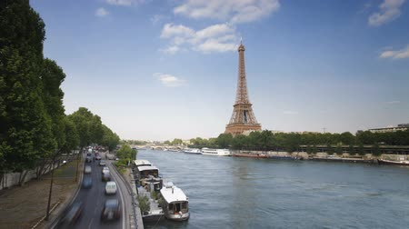 The world famous Eiffel Tower in natural light Paris France Europe timelapse