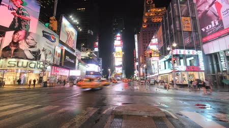 Times Square street at night timelapse