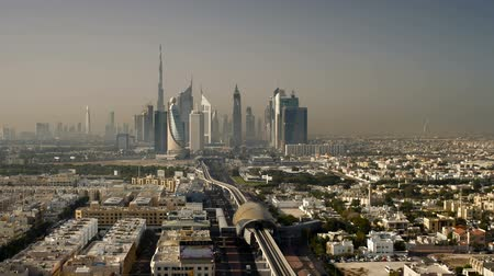 estruturas : United Arab Emirates Dubai elevated view of the new Dubai skyline Stock Footage