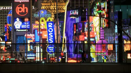 Vegas strip neon teken time-lapse Stockvideo