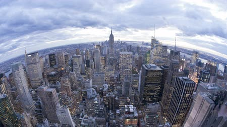 Wide angle view of the Manhattan skyline from the Empire state building