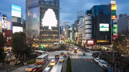 Wide shot pedestrians and traffic across Shibuya crossing Hachiko