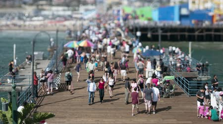 Zoom uit tilt shift California pier time lapse
