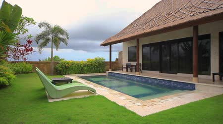 holiday villa : Tropical paradise before storm, Dreamland, Bali, Indonesia. Prores codec.